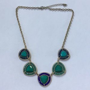 Turquoise Blue Green Gold Necklace